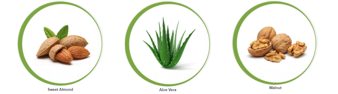 The active ingredients of the Coolherbals Sweet Almond & Aloe Vera Cleanser are Sweet Almond, Aloe Vera and Walnut.